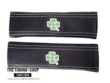 "2x Seat Belt Covers Pads Black Leather ""Clover "" Embroidery for Alfa Romeo"