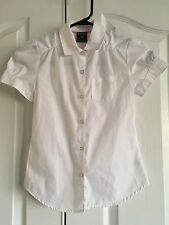 French Toast School Uniform Girls WhiteShort Sleeve Front Gather Blouse  7/8