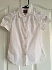 French Toast School Uniform Girls WhiteShort Sleeve Front Gather Blouse  7/8
