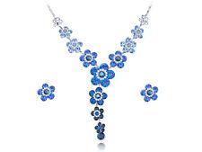 Lighter Sapphire Flower Daisy New Crystal Element Earring Necklace Set