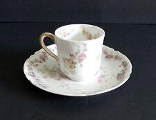 Haviland Limoges France demitasse chocolate cup and saucer - pink roses