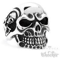 Massiver Totenkopf Biker Ring Edelstahl silber Skull Schädel m. Skeletten Rocker