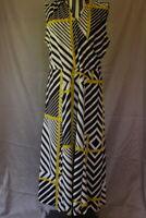 Women's Jones New York Dress Size Large Black Green Stripes Long Maxi Sleeveless