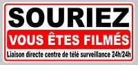 VIDEO SURVEILLANCE SOURIEZ ALARME CAMERA SECURITE 40x19cm STICKER SA134