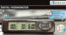 ATech Digital LCD Clock Display Indoor Outdoor Car Thermometer with Ice Alert