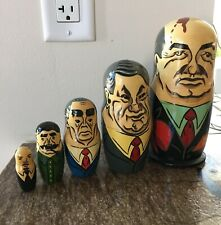 Rare Russian Leaders Wooden Nesting Dolls Vintage Hand Painted