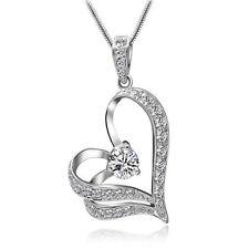 Hot Women Elegant Heart Crystal Rhinestone Silver Chain Pendant Necklace Jewelry