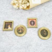 Miniatur Maßstab 1:12 Satz von 4 verschiedenen Bilderrahmen Neu Dolls E4R5 U8U1