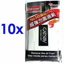 10x GATSBY Men Oil Control Film Blotting paper Clear Sheet 70 sheets NEW FREES&H