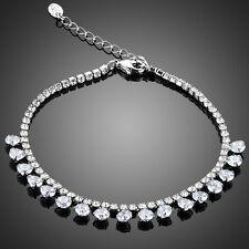 Sparkly Shiny Clear Ice White Zircon Rhinestones Rhodium Plated Tennis Bracelet