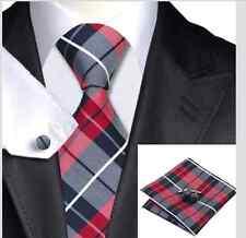 Silk Tie, cufflinks, hanky Set. Red/black /white. Perfect Wedding. Get it Quick