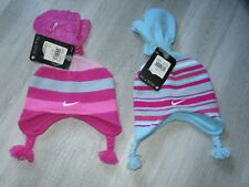 Nike Toddler Girls Beanie Hat Mittens Set Pink Blue Stripes 2/4T ~~Lot of 2~~