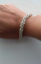 7mm SOLID 999 PURE SILVER BYZANTINE LADY'S BRACELET 34.54grams-1.11oz;7.64inches