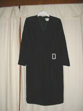 Carolina Herrera Black Cocktail Faux Wrap Dress Rhinestone Buckle Size 16