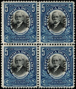 Canal Zone - 1909 - 5 Cents Deep Blue & Black Overprinted Issue # 33 Mint Block