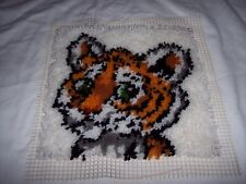 Tiger Cub Latch Hook 12x12 Wall Hanging Pillow ~ Hooking Done, You Finish Edges