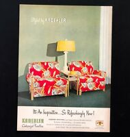 1947 Kroehler Furniture Advertisement Tropical Floral MCM Chairs Vtg Print AD