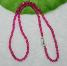 Fine 2x4mm Rose Ruby Faceted Roundel Gems Beads Necklace Silver Clasp AAA