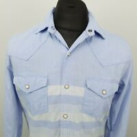 Red Camel Mens Denim Shirt Western Snap MEDIUM Blue SLIM FIT No Pattern Cotton
