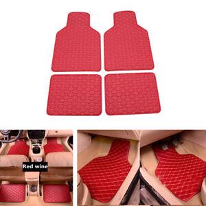 4pcs Set Universal Fit Car Truck Front Rear Leather Heel Pad Carpet Floor Mats