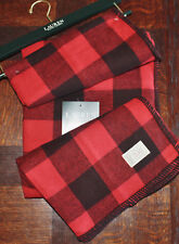 Ralph Lauren ~ BUFFALO Check Red & Black Lodge Throw Blanket ~ NEW Cotton Plaid