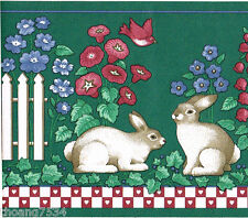 Country Vintage Rabbit Bunny White Picket Fence Floral Green Wall paper Border