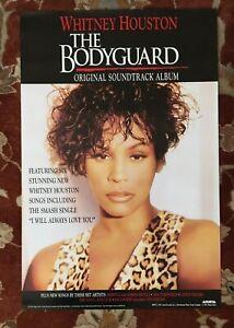 WHITNEY HOUSTON  The Bodyguard Soundtrack  rare original promotional poster