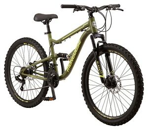 Mongoose Bash Suspension mountain bike, 21 speeds, 26-inch wheels, green In Hand