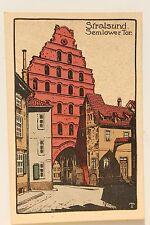 26553 Steindruck Künstler Stein Zeichnung AK Stralsund Semlower Tor um 1910