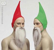 Green Gnome Hat With Beard Festive Xmas Christmas Elf Fancy Dress Accessory