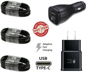 Fast Adaptive Wall Car Charger For Samsung Galaxy S8 S9 Plus Note 8 Type-C Cable
