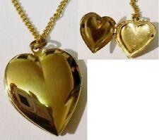 pendentif chaine porte photo rétro coeur bijou vintage couleur or poli * 5229