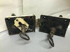 2 Vtg Original Steam Ship Door Handles Locks w Keys all Original  WORKS!