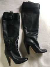 ZANOTTI VICINI Italy Black Leather Boots Heels 38 7.5 BARRIE CHASE COLLECTION