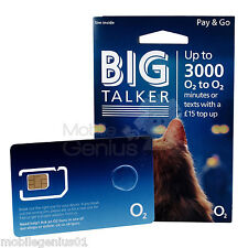 O2 BIG TALKER PAYG SIM standard/micro/nano 02 fits all iphones 5, 5S, 6, 6S, 7