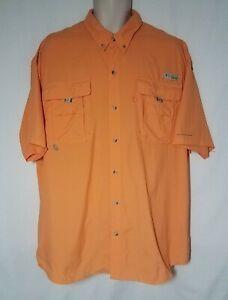 Men's Columbia PFG Omni Shade Orange Button Down Nylon Vented Fishing Shirt XL