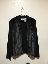 Zippered LS Sweater, Faux Fur Front, Black, Size S, Kathie Lee Collection