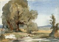 IMPRESSIONIST COUNTRYSIDE LANDSCAPE Watercolour Painting c1970