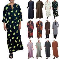 Men Muslim Clothing Saudi Arab Kaftan Islamic Abaya Jubba Long Sleeve Thobe Robe