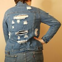 Distressed Jean Jacket Size Small Blue Denim Womens Wax Jeans Basic Button Down