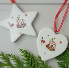 Set of 2 robin/pudding ceramic heart and stars Christmas decorations
