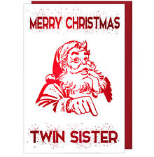 Pretty Sparkling Effect Christmas Card For Twin Sister