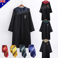 Harry Potter Adult Kids Robe Cloak Gryffindor Slytherin Tie Cosplay Costume Cape