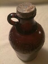 Vintage Purex Amber Glass Handled Embossed Jug/Bottle with Cap Half Gallon Brown