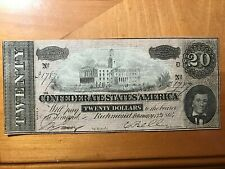 1864 $20 CONFEDERATE STATES OF AMERICA LARGE NOTE