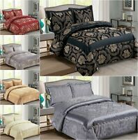 Luxury Reversible Jacquard Quilted Bedspread 3 Piece Comforter Throw Bed Set
