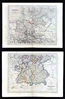 c. 1849 Archer Map x2 - North & South Germany - Berlin Bavaria Munich Frankfurt