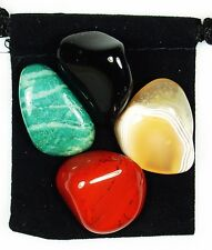 UNIVERSAL AWARENESS Tumbled Crystal Healing Set = 4 Stones + Pouch + Description