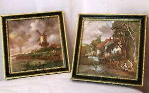 Pair of lovely VINTAGE STAFFORDSHIRE TILES, framed, Old masters, Dutch, artists.