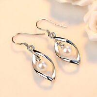 Damen Ohrringe Creolen 925 Silber Sterling Ohrhänger mit Tropfen Anhänger Perle